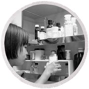 Young Girl In Medicine Cabinet Round Beach Towel