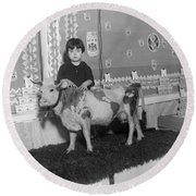 Young Girl With Pet Cow Round Beach Towel
