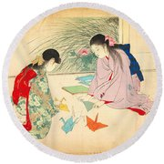 Young Girls Making Paper Cranes Round Beach Towel