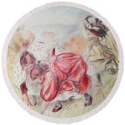 Young Girls Playing Coloured Pencil Round Beach Towel