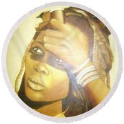 Young Himba Girl - Original Artwork Round Beach Towel