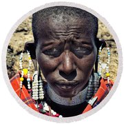 Portrait Of Young Maasai Woman At Ngorongoro Conservation Tanzania Round Beach Towel