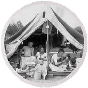 Young Men On A Camp Out Round Beach Towel