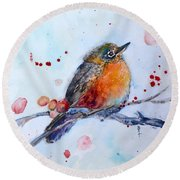 Young Robin Round Beach Towel