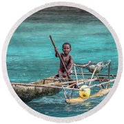 Young Seaman Round Beach Towel by Jola Martysz