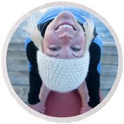 Young Woman Doing Yoga On Pier In Tahoe Round Beach Towel