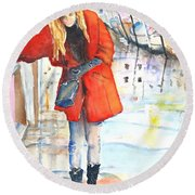 Young Woman Walking Along Venice Italy Canal Round Beach Towel