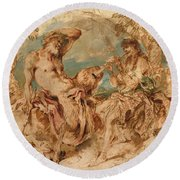 Youth Playing A Pipe For A Satyr Round Beach Towel