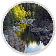 Yuba River Twilight Round Beach Towel by Donna Blackhall