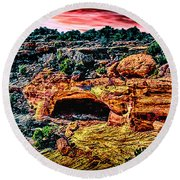Yucca Cave Canyon Dechelly Round Beach Towel by Bob and Nadine Johnston