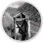 Yukon Alaska Outhouse Round Beach Towel