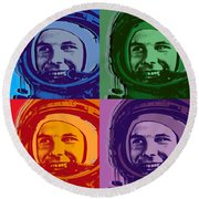 Yuri Gagarin  Round Beach Towel by Jean luc Comperat