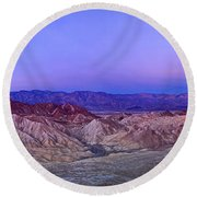 Zabriskie Sunrise Panorama - Death Valley National Park. Round Beach Towel