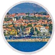 Zadar Waterfront Sea Organs View Round Beach Towel
