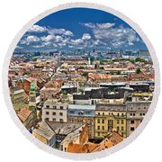 Zagreb Lower Town Colorful Panoramic View Round Beach Towel