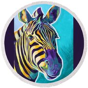 Zebra - Sunrise Round Beach Towel
