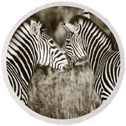 Zebra Affection Round Beach Towel by Liz Leyden