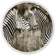 Zebra Affection Round Beach Towel