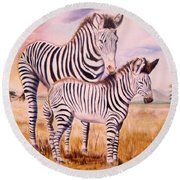 Zebra And Foal Round Beach Towel