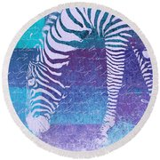 Zebra Art - Bp02t01 Round Beach Towel by Variance Collections