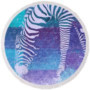 Zebra Art - Bp02t01 Round Beach Towel