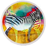 Zebra Colors Of Africa Round Beach Towel