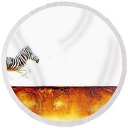 Zebra Crossing - Original Artwork Round Beach Towel