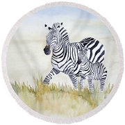 Zebra Family Round Beach Towel