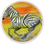 Zebra Kicking Up Dust Round Beach Towel