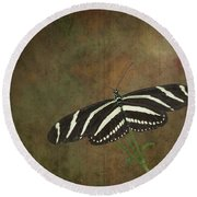 Zebra Longwing  Butterfly-1 Round Beach Towel