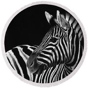 Zebra No. 3 Round Beach Towel