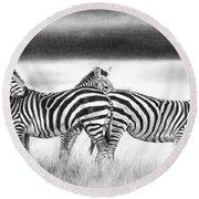 Zebra Panarama Round Beach Towel