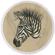 Zebra Profile Round Beach Towel