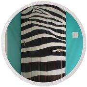 Zebra Stripe Mural - Door Number 2 Round Beach Towel by Sean Connolly
