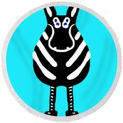 Zebra - The Front View Round Beach Towel
