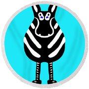 Zebra - The Front View Round Beach Towel