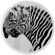 Zebra Twins Round Beach Towel by Cheryl Poland