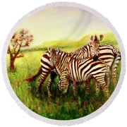 Round Beach Towel featuring the painting Zebras At Ngorongoro Crater by Sher Nasser