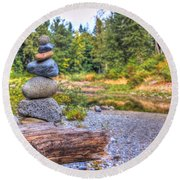 Round Beach Towel featuring the photograph Zen Balanced Stones On A Tree by Eti Reid