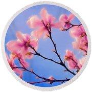 Cherry Blossums In Digital Watercolor Round Beach Towel