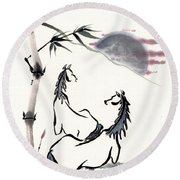 Round Beach Towel featuring the painting Zen Horses Evolution Of Consciousness by Bill Searle
