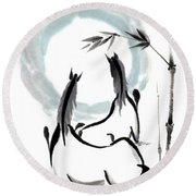 Zen Horses Into The Vortex Round Beach Towel