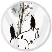 Round Beach Towel featuring the painting Zen Horses Moon Reverence by Bill Searle