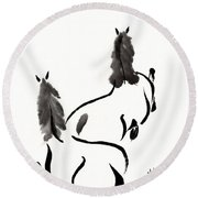 Zen Horses Retired Round Beach Towel