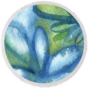 Zen Leaves Round Beach Towel