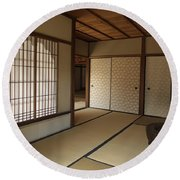Zen Meditation Room And Katomado Window - Kyoto Japan Round Beach Towel
