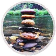 Zen Stones II Round Beach Towel by Marco Oliveira