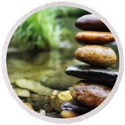 Zen Stones Round Beach Towel by Marco Oliveira