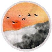 Zen Sunset Round Beach Towel