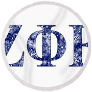 Zeta Phi Beta - White Round Beach Towel